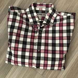 Fitted Plaid Print Cotton Shirt